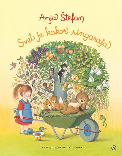 Pisana naslovnica bogate in slikovite otroške knjige.