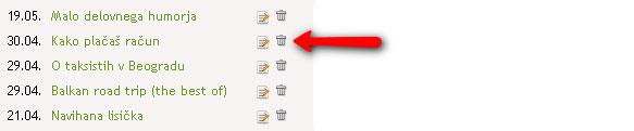 Kako izbrisati obstoječi zapis?