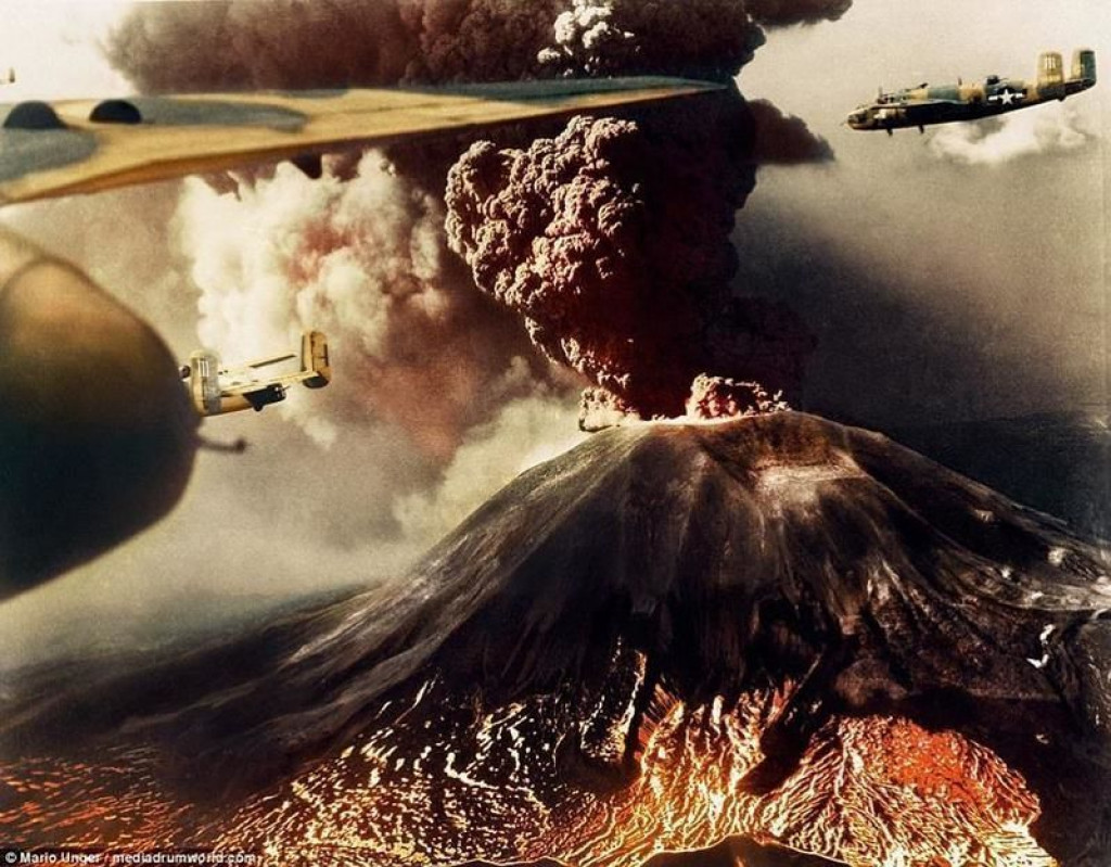 Izbruh Vezuva med drugo svetovno vojno (FOTO: reddit.com)